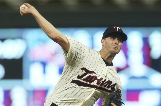 Minnesota Twins pitcher Jake Odorizzi throws against the New York Yankees in the third inning of a baseball game Wednesday, Sept. 12, 2018, in Minneapolis. (AP Photo/Jim Mone)