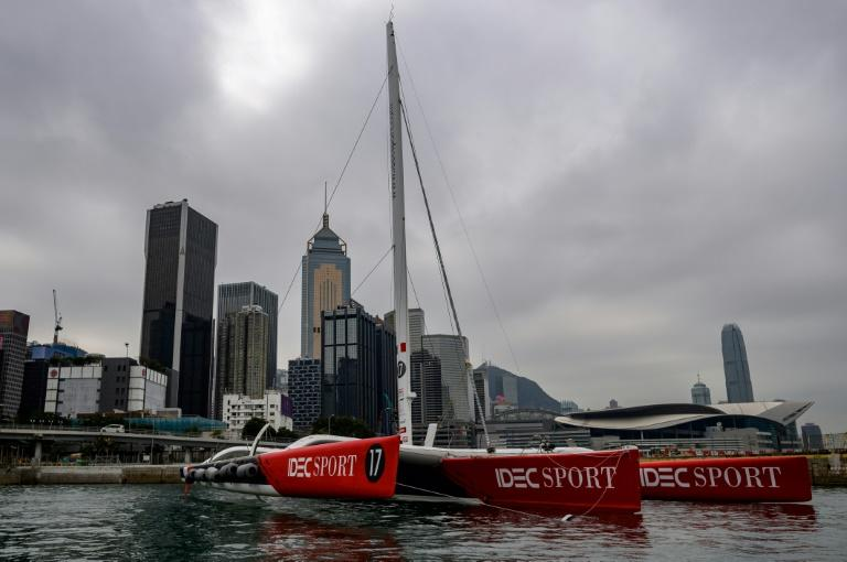 Francis Joyon is hoping to break the clipper tea route record from Hong Kong to Britain with his IDEC maxi-trimaran