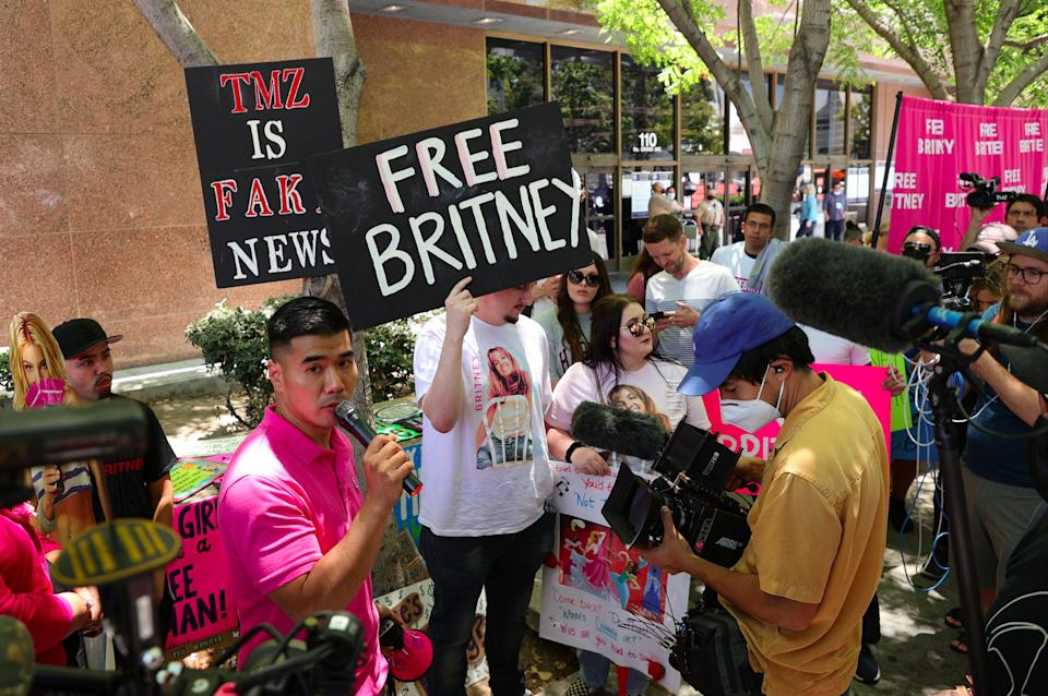 #FreeBritney activists protest at Los Angeles Grand Park ahead of  the conservatorship hearing for the popstar (Getty Images)