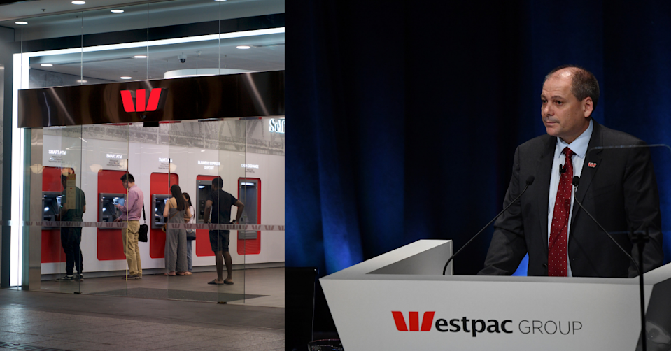 People using ATMs at a Westpac branch and Westpac CEO Peter King