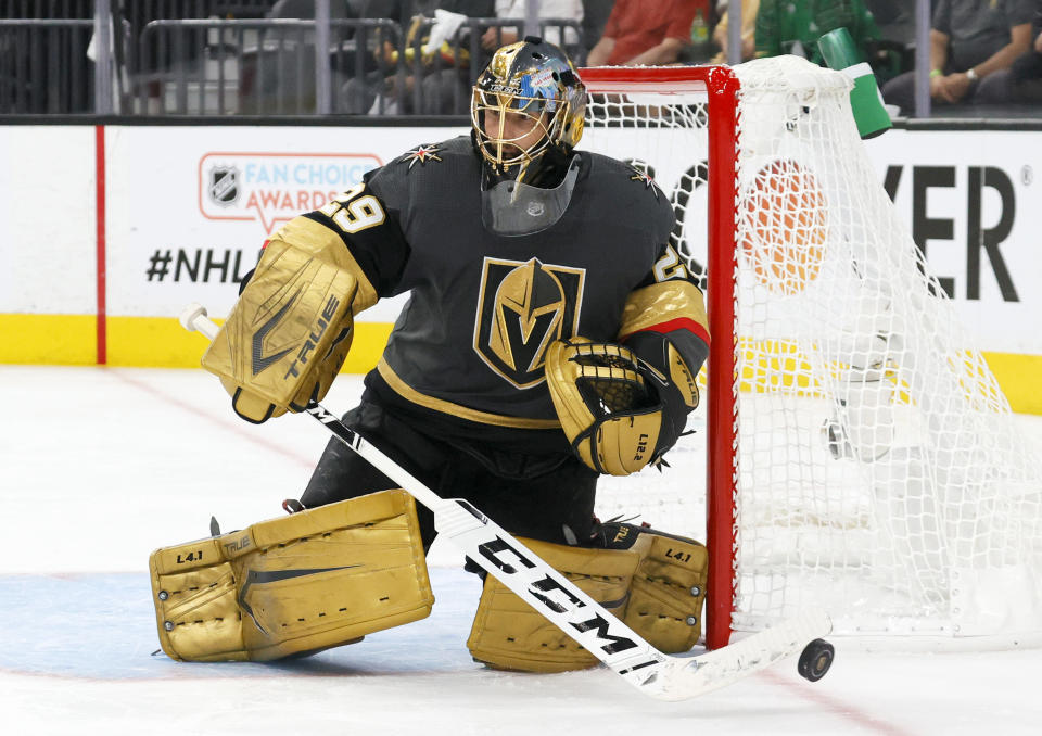 Marc-Andre Fleury #29 of the Vegas Golden Knights