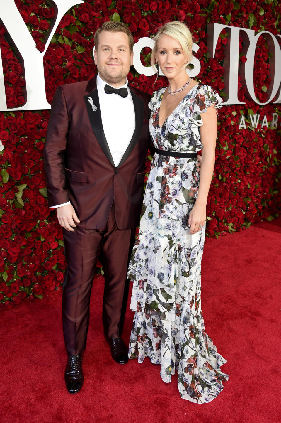 "<p>James Corden, the show's host, walked the red carpet in an ox blood tuxedo and a black bowtie. ""Everything I'm wearing tonight [Anna Wintour] picked out,"" he said. In fact, he gave the <i>Vogue</i> editor in chief credit for revamping the event. ""She's incredibly influential with this whole event. She also believes — as I do — that this is a show that we absolutely should be celebrating in every way possible."" <i>(Photo: Getty Images)</i></p>"