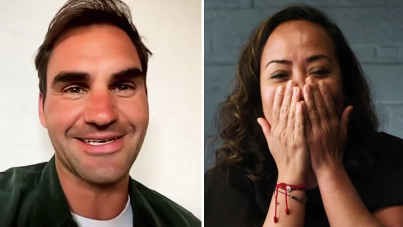 Roger Federer (pictured left) surprised frontline nurse in Christianne Calderon (pictured right) on Mother's Day. (Images: ESPN)