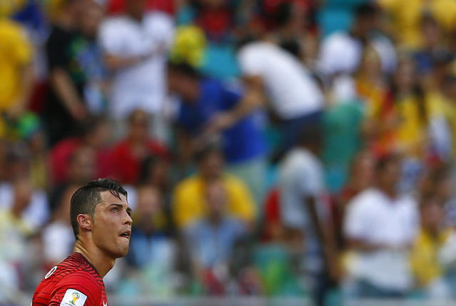 Portugal's Cristiano Ronaldo reacts during their 2014 World Cup Group G soccer match against Germany at the Fonte Nova arena in Salvador June 16, 2014. REUTERS/Darren Staples (BRAZIL - Tags: SOCCER SPORT WORLD CUP)