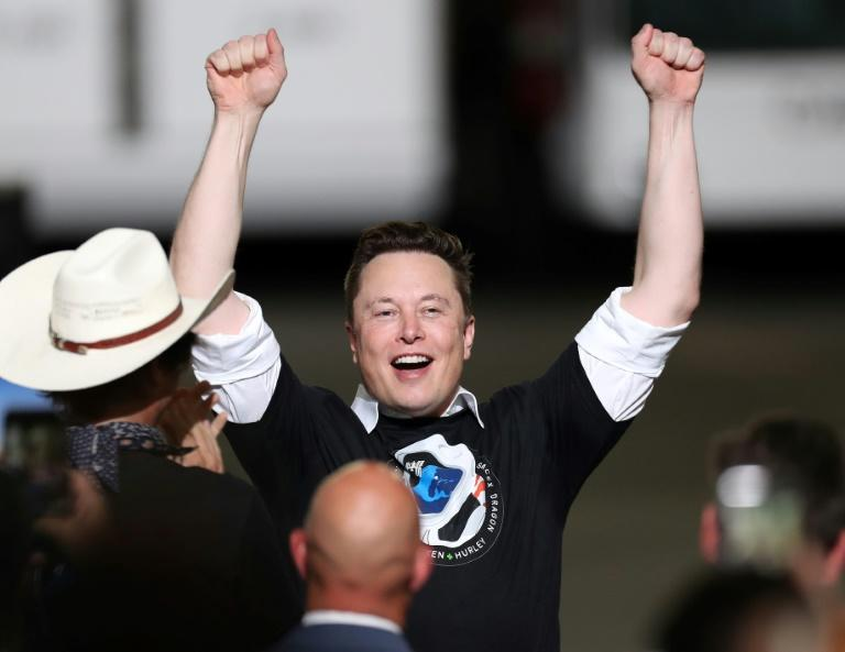 Spacex founder Elon Musk celebrates after the successful launch of the SpaceX Falcon 9 rocket