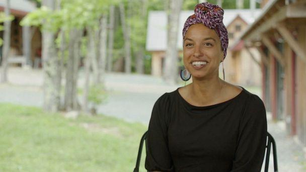 PHOTO: Leah Penniman, co-director of the Afro-Indigenous community-centered Soul Fire Farm, talks to ABC News about Black people's history and connection to the land.  (ABC News )
