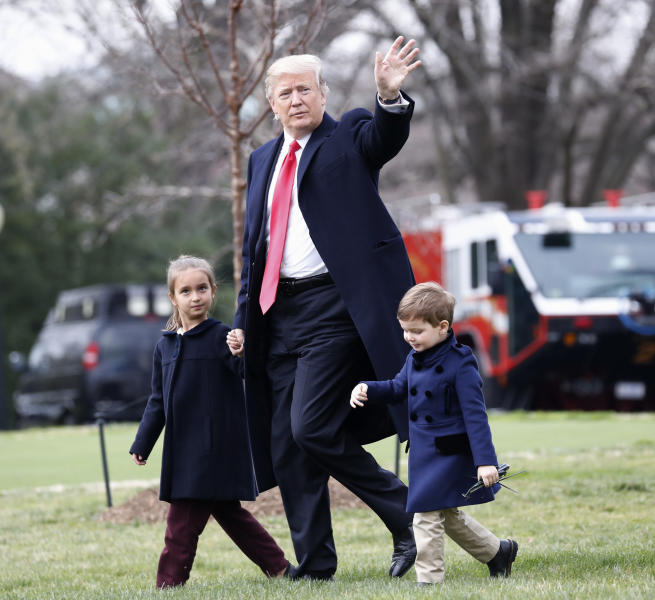 <p> President Donald Trump walks with his grandchildren, Arabella Kushner and Joseph Kushner, across the South Lawn of the White House in Washington, Friday, March 3, 2017, before boarding Marine One for the short flight to nearby Andrews Air Force Base, Friday, March 3, 2017. (AP Photo/Pablo Martinez Monsivais) </p>