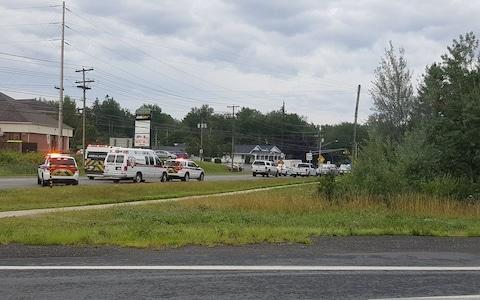 Emergency vehicles close to the location of the shooting in Fredericton, New Brunswick, Canada - Credit: Reuters