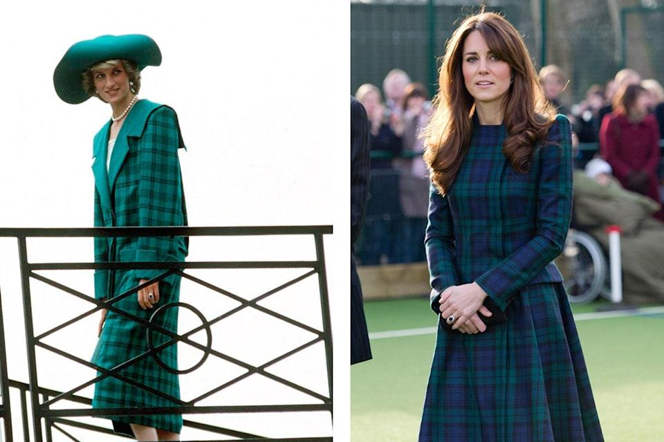 Princess Diana wearing Emanuel Couture in 1985; Kate Middleton in 2012