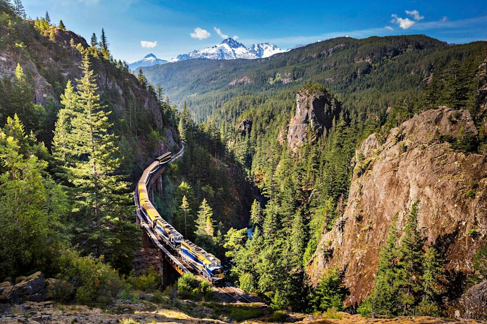 """<p>Launching in August, the luxe <a href=""""https://www.rockymountaineer.com/"""" rel=""""nofollow noopener"""" target=""""_blank"""" data-ylk=""""slk:Rocky Mountaineer"""" class=""""link rapid-noclick-resp"""">Rocky Mountaineer</a>—with panoramic over-sized windows—will take travelers from Denver to Moab, Utah, to see breathtaking desert landscapes, rock canyons and natural archways.</p>"""