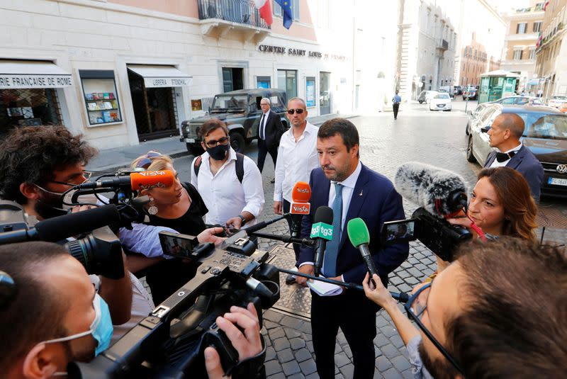 Leader of Italy's far-right League party Matteo Salvini talks to the media, in Rome