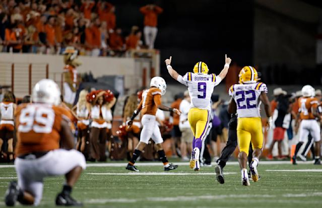 LSU Tigers quarterback Joe Burrow #9 celebrates a touchdown against the Texas Longhorns, Saturday Sept. 7, 2019 at Darrell K Royal-Texas Memorial Stadium in Austin, Tx. LSU won 45-38. ( Photo by Edward A. Ornelas )