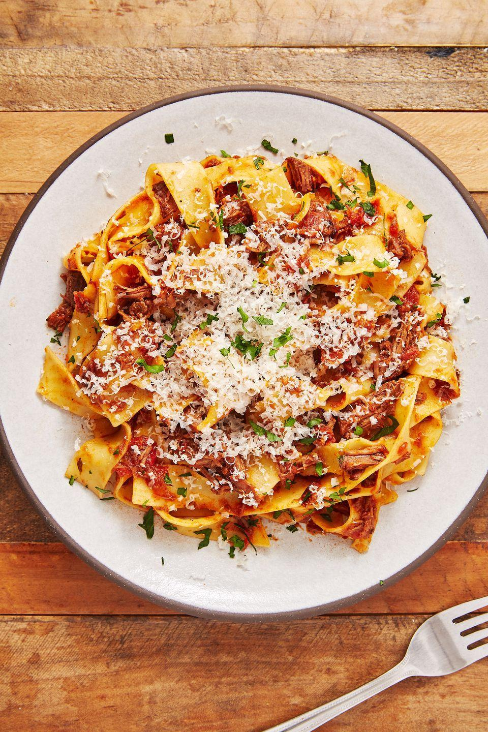 "<p>The best sauce you'll ever put over pasta and it's so easy to make. </p><p>Get the recipe from <a href=""https://www.delish.com/cooking/recipe-ideas/a28848480/beef-ragu-recipe/"" rel=""nofollow noopener"" target=""_blank"" data-ylk=""slk:Delish"" class=""link rapid-noclick-resp"">Delish</a>. </p>"