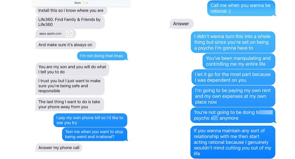 A child hits back at their mum after she asked them to download Life360. Source: Twitter
