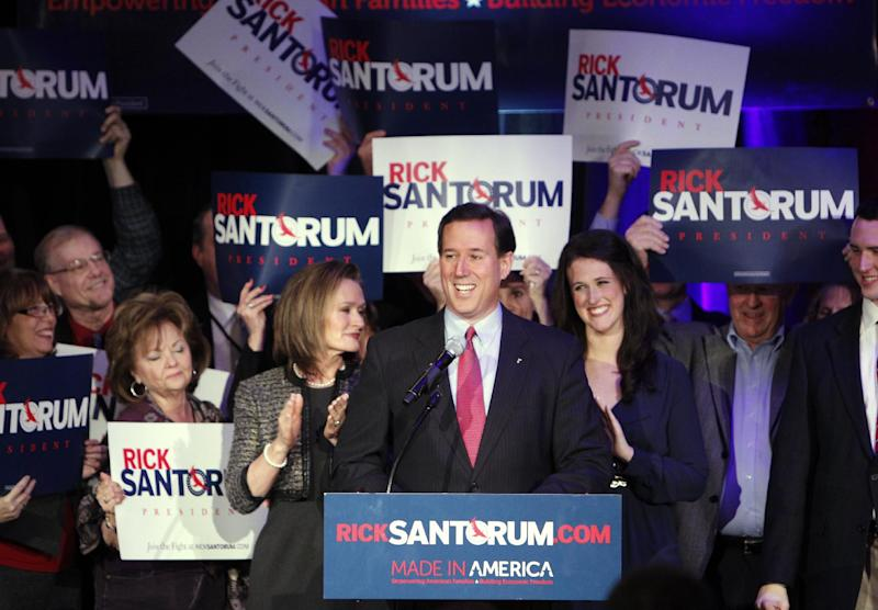 Republican presidential candidate, former Pennsylvania Sen. Rick Santorum speaks at his primary night rally in Grand Rapids, Mich., Tuesday, Feb. 28, 2012. (AP Photo/Paul Sancya)