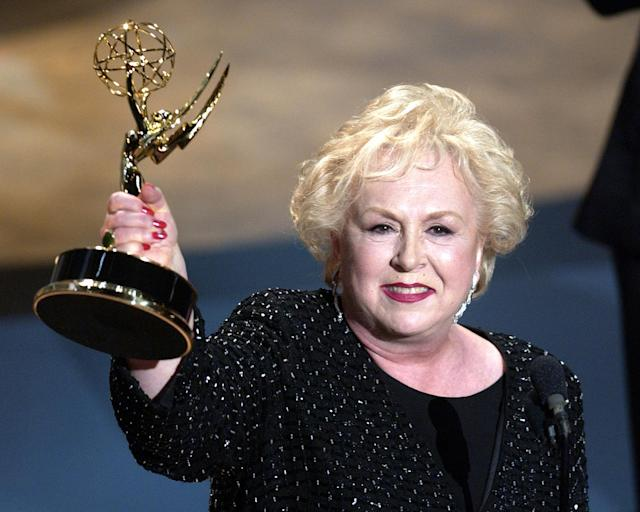 <p>Doris Roberts started acting in film and television in 1951, but most of America knew her as the meddling matriarch on Everybody Loves Raymond. She died on April 17 at age 90. — (Pictured) Doris Roberts accepts her award for Best Supporting Actress in a Comedy Series during the 53rd Annual Primetime Emmy Awards. (M. Caulfield/WireImage) </p>