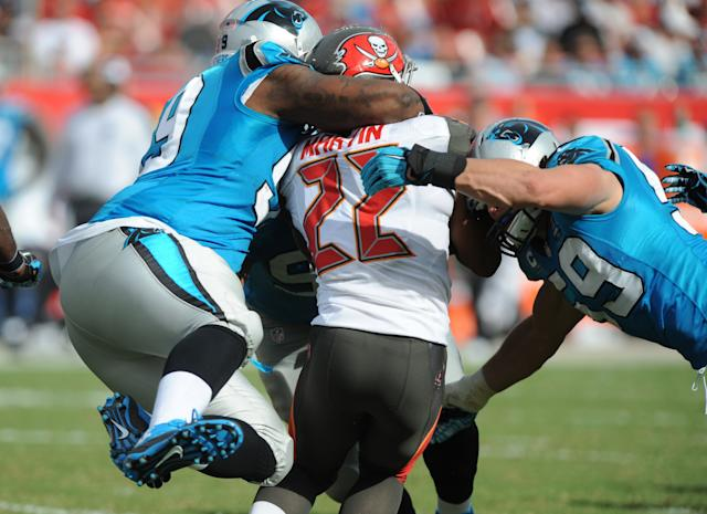 This image pretty much summed up Doug Martin's 2014. (Getty)