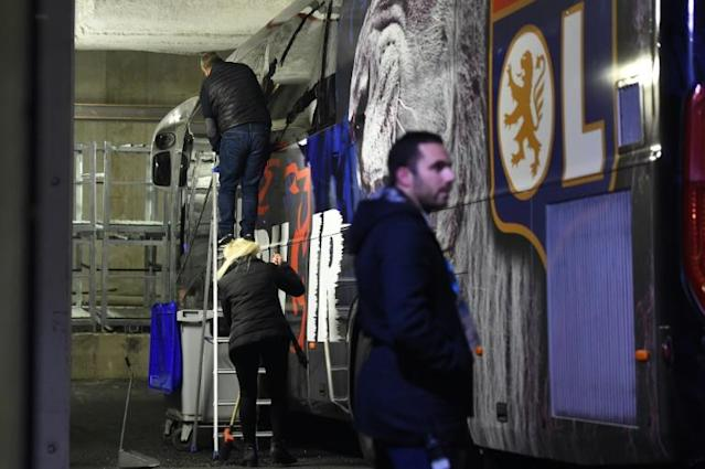 Two windows of Lyon's bus were shattered (AFP Photo/Sylvain THOMAS)