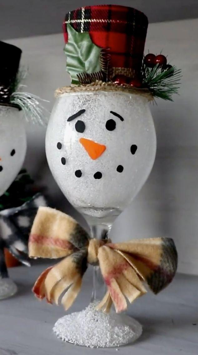 "Probably best not to pull out the good glasses for this one, just in case. Learn how to make it at <a href=""https://www.craftymorning.com/wine-glass-snowmen/"" target=""_blank"" rel=""noopener noreferrer"">Crafty Morning</a>."