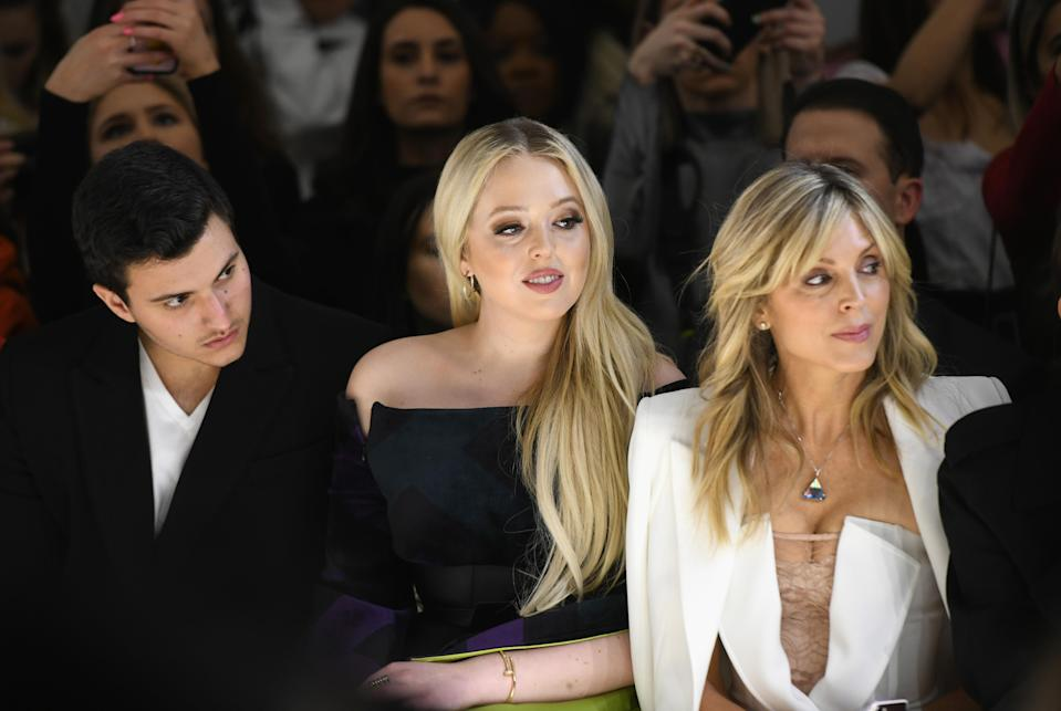 NEW YORK, NY – FEBRUARY 09: (L-R) Michael Boulos, Tiffany Trump, Marla Maples and Masha Rudenko attend the Taoray Wang front row during New York Fashion Week: The Shows at Gallery II at Spring Studios on February 9, 2019 in New York City. (Photo by Noam Galai/Getty Images for Taoray Wa
