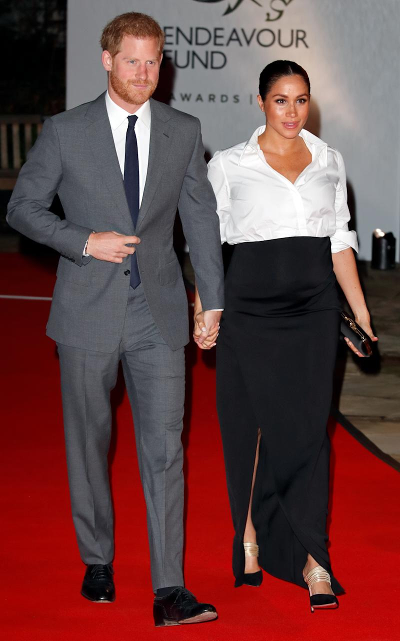 Prince Harry, Duke of Sussex and Meghan, Duchess of Sussex attend the Endeavour Fund awards at Drapers' Hall on February 7, 2019 in London, England. The Endeavour Fund awards celebrate the achievements of wounded, injured and sick servicemen and women who have taken part in remarkable sporting and adventure challenges over the last year.