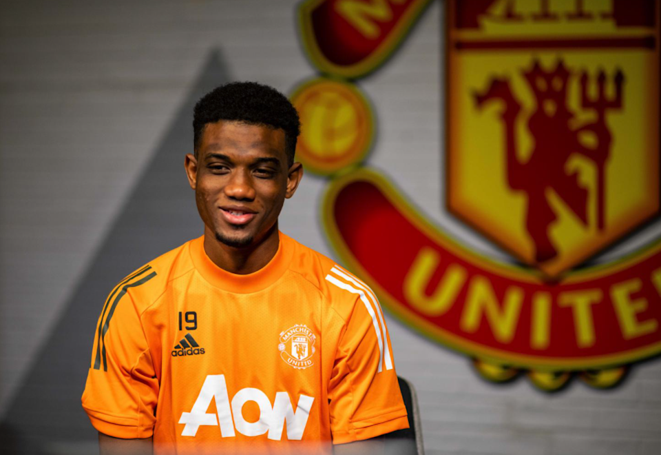 Amad Diallo photographed at Manchester United's training complex (Manchester United)