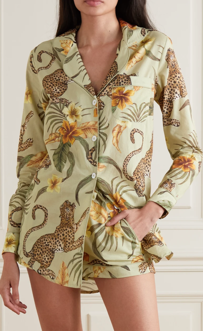 long sleeve button down pyjama top and matching shorts with a jaguar and palm frond pattern