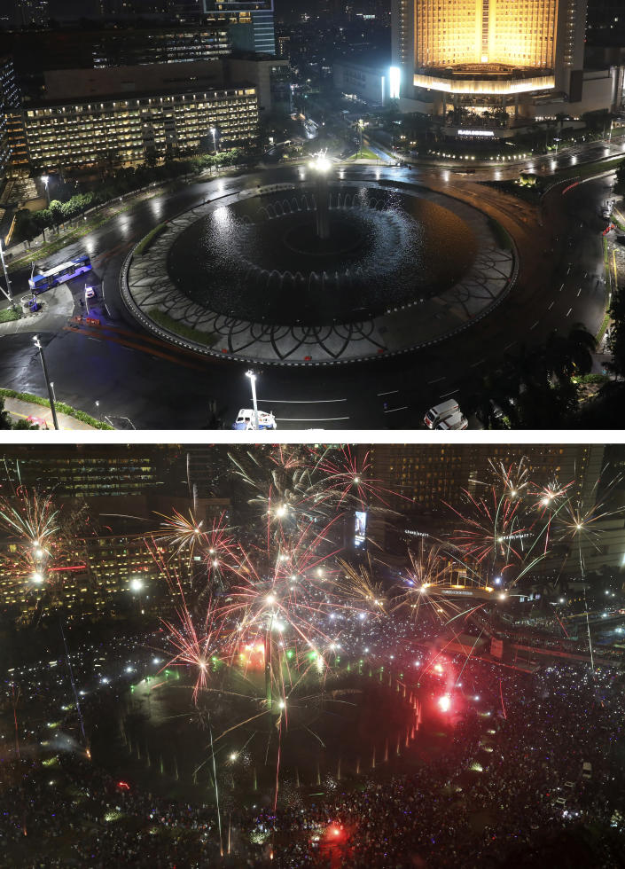 This combo image shows Hotel Indonesia Roundabout in Jakarta, a popular spot for New Year's Eve celebration, taken on Thursday, Dec. 31, 2020, top photo, and Saturday, Dec. 31, 2016, bottom photo. As the world says goodbye to 2020, there will be countdowns and live performances, but no massed jubilant crowds in traditional gathering spots like the Champs Elysees in Paris and New York City's Times Square this New Year's Eve. The virus that ruined 2020 has led to cancelations of most fireworks displays and public events in favor of made-for-TV-only moments in party spots like London and Rio de Janeiro. (AP Photo/Dita Alangkara, Tatan Syuflana)