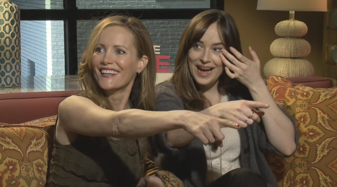 Blimey watch dakota johnson and leslie mann hit on male reporter because while promoting new movie how to be single the pair got a bit hot under the collar when a reporter from miami turned up ccuart Choice Image