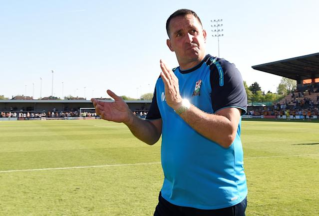 """Soccer Football - League Two - Barnet vs Chesterfield - The Hive, London, Britain - May 5, 2018 Barnet manager Martin Allen applauds their fans after the match as they are relegated from the Football League Action Images/Adam Holt EDITORIAL USE ONLY. No use with unauthorized audio, video, data, fixture lists, club/league logos or """"live"""" services. Online in-match use limited to 75 images, no video emulation. No use in betting, games or single club/league/player publications. Please contact your account representative for further details."""
