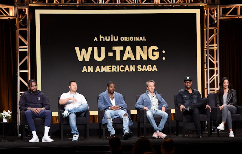 From left, Dave East, Alex Tse, Shameik Moore, Brian Grazer, RZA, and Francie Calfo speak onstage about