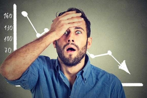 A man with his palm on his forehead in front of a chart showing a declining share price.
