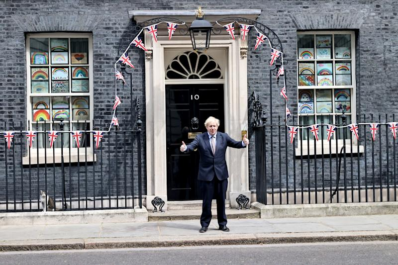 Prime Minister Boris Johnson outside Downing Street in London, to mark the 75th anniversary of VE Day.