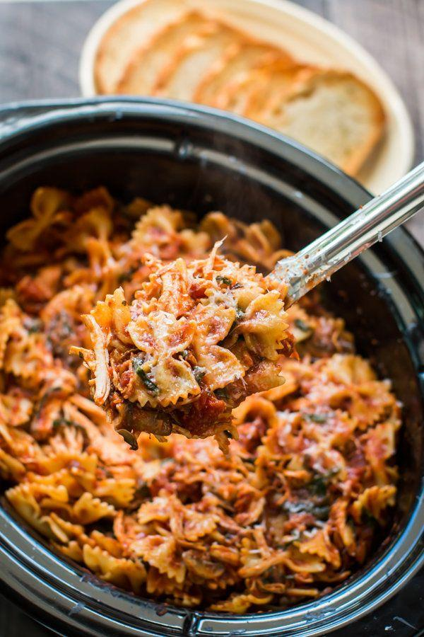 """<strong>Get the <a href=""""http://www.themagicalslowcooker.com/slow-cooker-chicken-bacon-pasta/"""" target=""""_blank"""">Slow Cooker Chicken Bacon Pasta recipe</a>fromThe Magical Slow Cooker</strong>"""