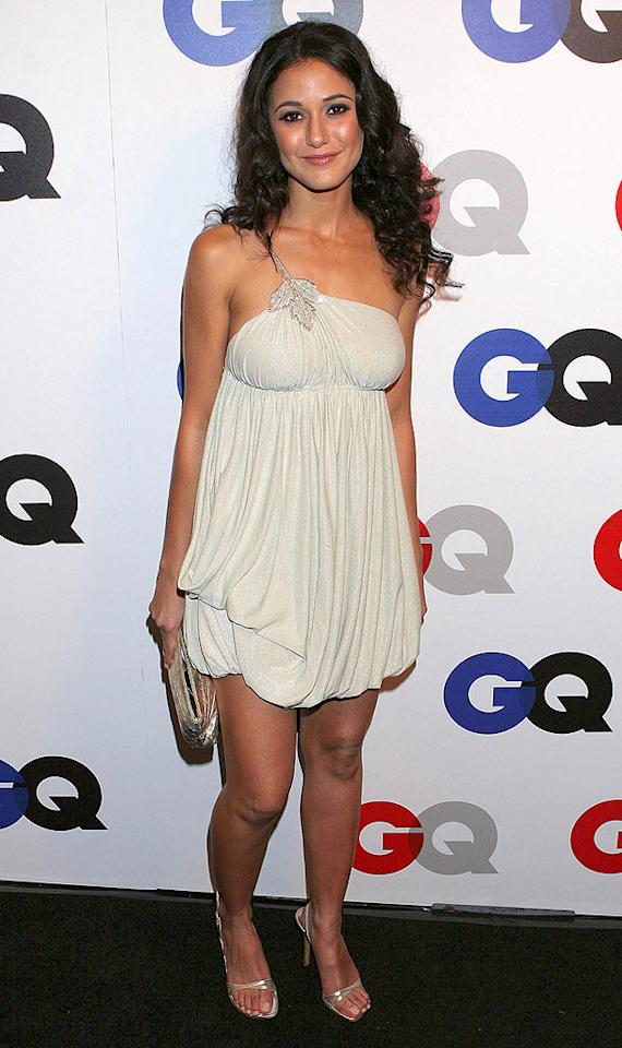"""Emmanuelle Chriqui arrives in a revealing champagne-colored cocktail dress. Carlos Diaz/<a href=""""http://www.infdaily.com"""" target=""""new"""">INFDaily.com</a> - December 5, 2007"""
