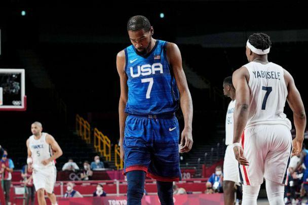 PHOTO: United States' forward Kevin Durant (7) walks up the court during a men's basketball loss to France in a preliminary round game at the 2020 Summer Olympics, Sunday, July 25, 2021, in Saitama, Japan. (Eric Gay/AP Photo)
