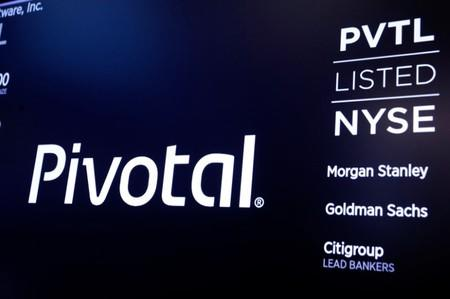 The Pivotal Software logo is pictured on the floor of the  New York Stock Exchange in the Manhattan borough of New York Cit3