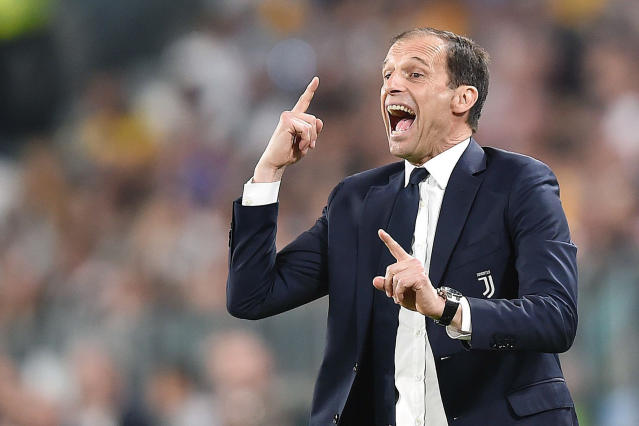 Juventus coach Massimiliano Allegri calls out to his players during a Serie A soccer match between Juventus and Napoli at the Allianz Stadium in Turin, Italy, Sunday, April 22, 2018. (Alessandro Di Marco/ANSA via AP)
