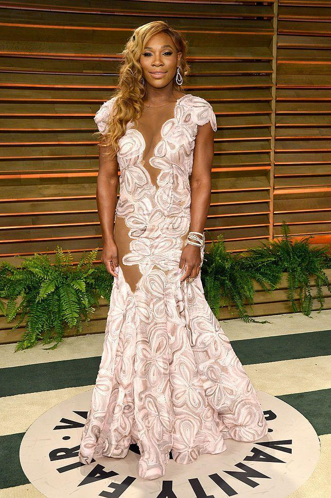 <p>Williams looked like a mermaid in this white cut-out gown. </p>