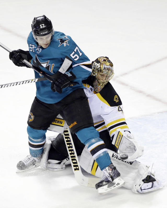 Boston Bruins goalie Tuukka Rask, right, of Finland, makes a save next to San Jose Sharks' Tommy Wingels (57) during the first period of an NHL hockey game on Saturday, Jan. 11, 2014, in San Jose, Calif. (AP Photo/Marcio Jose Sanchez)