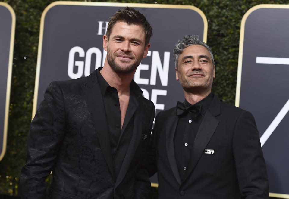 Chris Hemsworth, left, and Taika Waititi arrive at the 75th annual Golden Globe Awards at the Beverly Hilton Hotel on Sunday, Jan. 7, 2018, in Beverly Hills, Calif. (Photo by Jordan Strauss/Invision/AP)