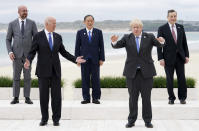 FILE - In this Friday, June 11, 2021 file photo, leaders of the G7 pose during a group photo at the G7 meeting at the Carbis Bay Hotel in Carbis Bay, St. Ives, Cornwall, England. When U.S. President Joe Biden took office early this year, Western allies were falling over themselves to welcome and praise him and hail a new era in trans-Atlantic cooperation. The collapse of Kabul certainly put a stop to that. Even some of his biggest fans are now churning out criticism. (Phil Noble, Pool Photo via AP, File)