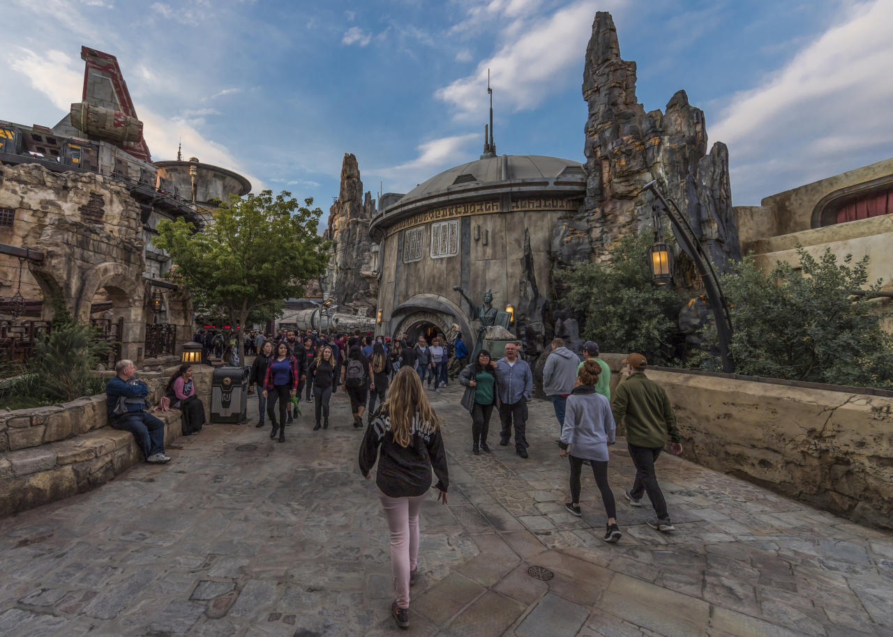 In addition to the Black Spire Outpost market, restaurants and other local color, Galaxy's Edge boasts two signature attractions. Millennium Falcon: Smugglers Run is available opening day, and <em>Star Wars</em>: Rise of the Resistance will open later this year. (Photo: Joshua Sudock/Disney Parks)