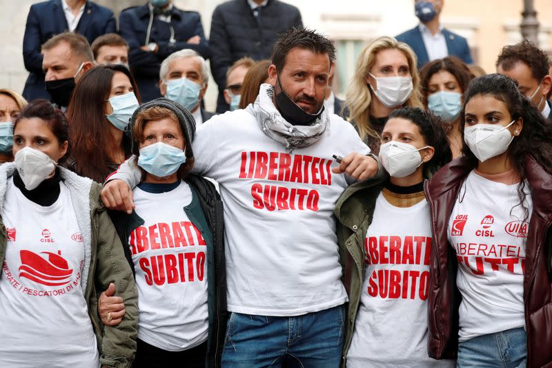 FILE PHOTO: Families ask for the release of Italian fishermen arrested in Libya