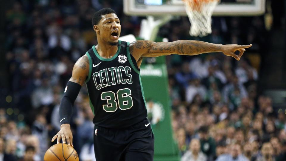 """<a class=""""link rapid-noclick-resp"""" href=""""/nba/players/5317/"""" data-ylk=""""slk:Marcus Smart"""">Marcus Smart</a> is in his fourth season with the Celtics. (AP)"""