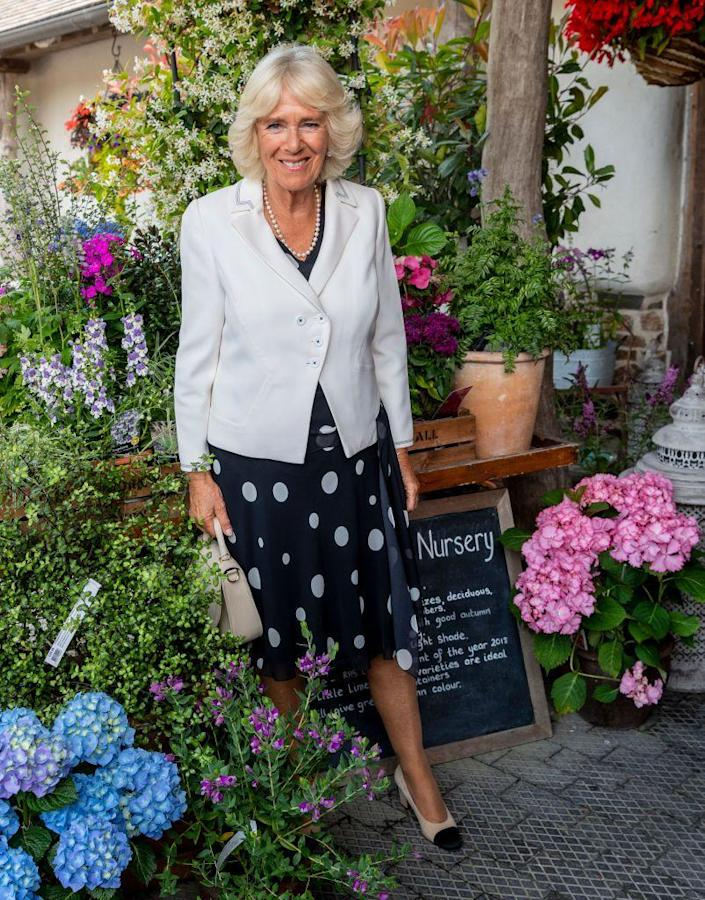 <p>The Duchess of Cornwall attended the 50th Anniversary of His Royal Highness' Chairmanship of the Duchy of Cornwall Prince's Council, wearing a black and white polka dot dress, a crisp white blazer and kitten heels.</p>