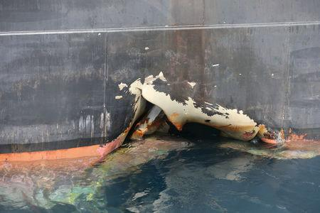 FILE PHOTO: Damaged ship Andrea Victory is seen off the Port of Fujairah