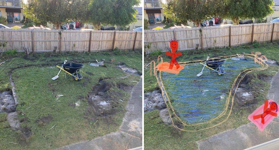 A photo of an underground pool at a Sunshine Coast house and a digital sketch over top.