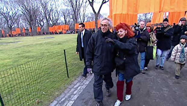 Christo and Jeanne-Claude at the opening of The Gates in New York's Central Park in 2005. / Credit: CBS News