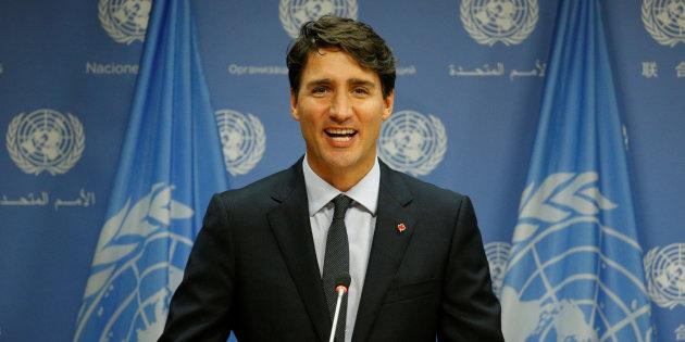 Prime Minister Justin Trudeau speaks during a news conference after addressing the 72nd United Nations General Assembly at the U.N. Headquarters in New York on Sept. 21, 2017.